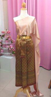 SIRIRAT ชุดไทย สมัยร.4 สไบ(สีแชมเปญ)+ผ้าถุงลายไทย(สีทอง)+เข็มขัด