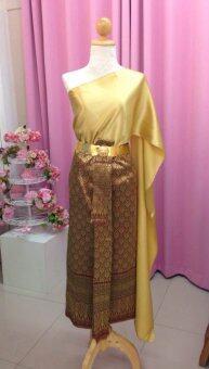 SIRIRAT ชุดไทย สมัยร.4 สไบ(สีทอง)+ผ้าถุงลายไทย(สีทอง)+เข็มขัด