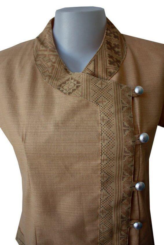 Sita Cotton เสื้อผ้าฝ้ายแขนสั้น (สีน้ำตาล)