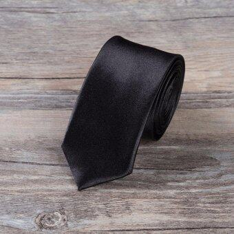 Harga เนคไท Slim Necktie Tie Wedding Classic Jacquard Woven Solid Color Plain Skinny Silk - Black