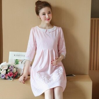 Small Wow Maternity Elegant Doll Collar Print chiffon Loose Above Knee Dress Pink - intl