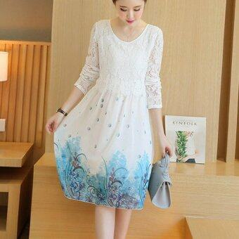 Harga Small Wow Maternity Korean Round Print chiffon Loose Above KneeDress White - intl