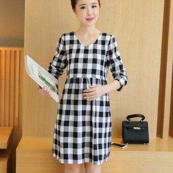 Harga Small Wow Maternity Korean Round Stitching Contrast Color CottonLoose Above Knee Dress Black - intl