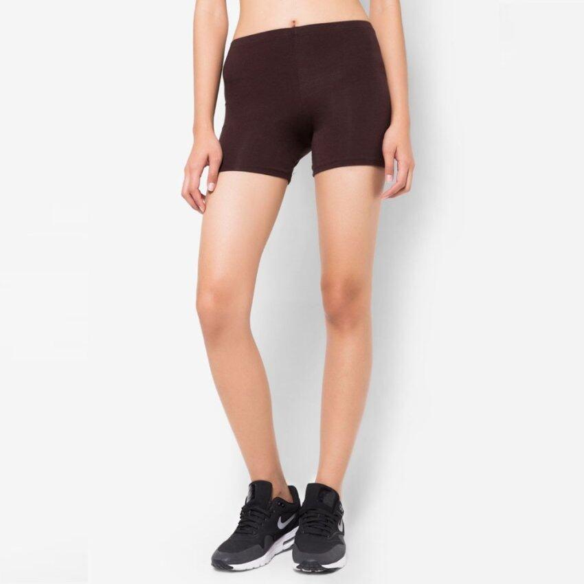กางเกงเลกกิ้ง ขาสั้น ผ้า Spandex Rayon แท้ สีน้ำตาล