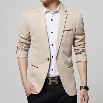 Spring and Autumn Men 's Small Suit Korean Youth Jacket LeisureSuits (Beige) - intl