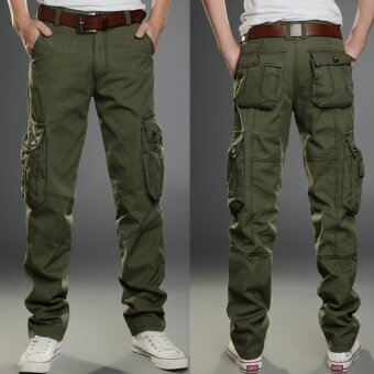 Spring and Summer Men's Casual Pants Multi-pocket Overalls TrousersTrousers Sports Trousers Overalls Men Trousers Straight Slim(ArmyGreen) - intl