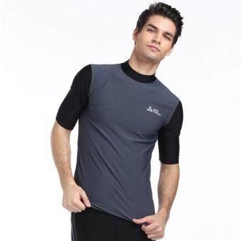 ราคา Streamline เสื้อว่ายน้ำผู้ชายแขนสั้น กันแดด สีเทา(Int:S)