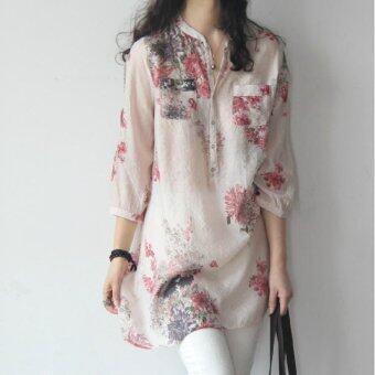 Summer fresh large size linen floral loose long section sevensleeve shirts Korean version art - intl