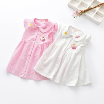 Summer pig print cute girl pink dress - intl