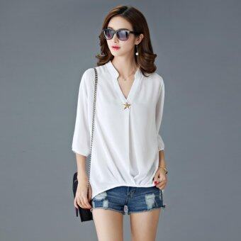 Summer Popular Fashion Plus Size Chiffon Shirt - White - intl
