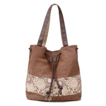 เปรียบเทียบราคา กระเป๋าสะพาย ทรงรูด ผ้าแคนวาสพิมพ์ลาย รุ่น KT1116 -สีน้ำตาล