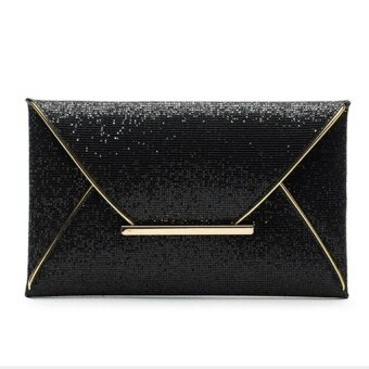 Teamtop US Women Sequins Evening Party Glitter Envelope Bag PurseClutch Handbag Satchel Black - intl