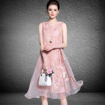 The new summer style women's fashion retro Chinese style embroidered pink dresses - intl