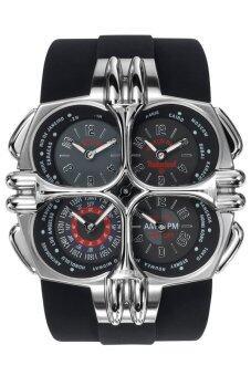ราคา Timberland 4Eyes WorldTime Quartz Men s Watch Stainless Strap สายยาง รุ่น QT8159101 - Silver/Black