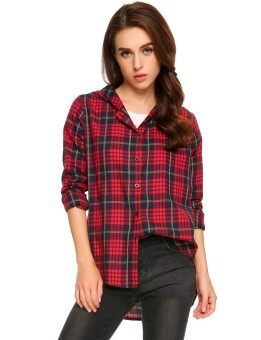 Toprank Women Casual Hooded Long Sleeve Plaid Button-down Shirt Jacket ( Red ) - intl