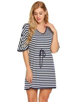Toprank Women V-Neck Short Sleeve Striped Lace Trim Casual Mini Sleepwear Dress ( Dark blue ) - intl