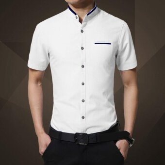 Harga Trendy Stand Collar Plain Color Short Sleeve Casual or BussinessShirt for Men(White) - intl