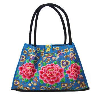 Tuan สีฟ้าสองด้านปักด้านล่างกระเป๋าถือถุงใหญ่ (ทรัมเป็ต)