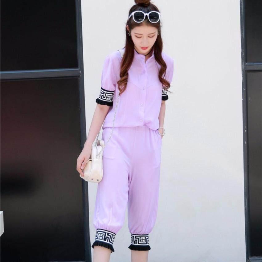 Tucky&Jiang ชุด 2 ชิ้น เสื้อแฟชั่น คอปีน แขนจั๊ม + กางเกง3 ส่วน สีม่วง 2031 ม่วง