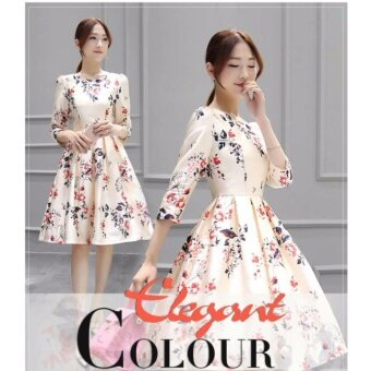 Harga Two brother New Women's Short Sleeves Large Size Dress A Word Skirt Tide - intl
