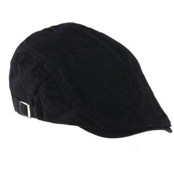 Unisex Men Women Beret Buckle Flat Cap Cabbie Driving Newsboy Gatsby Golf Hat Black