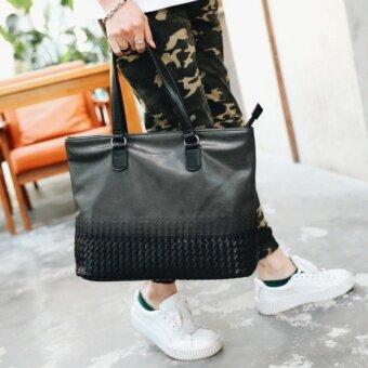 เปรียบเทียบราคา กระเป๋าสะพายไหล่ผู้ชายหรือถือ หนัง PU สไตล์ย้อนยุค รุ่น NE571 – สีดำ