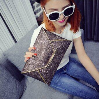 US Women Sequins Evening Party Glitter Envelope Bag Purse Clutch Handbag Satchel Champagne
