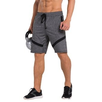 Harga VANSYDICAL Men Fashion Elasticity Breathable Shorts Sports WorkoutFitness Casual Short Pants(Grey)