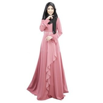 Victory New Female Muslim Robe Long Sleeve Dress Ethnic StyleTradition Long Skirt A-line Dress Dresses Robes(Pink) - intl