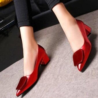 Victory New paragraph Shallow mouth Single shoes crude heel pointedfashion Women's Shoes (Red) - intl