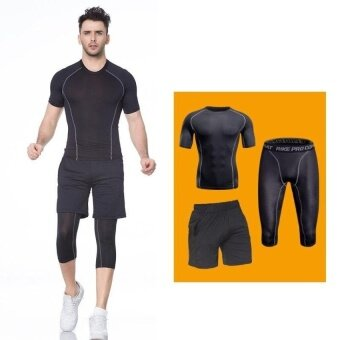 Harga VOYAGE 3PCS Men sports Pants T-shirt Shorts runningbasketballFitness training Breathable stretch quick-dryingBlack -intl