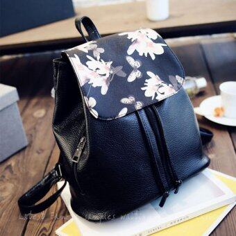 Women Backpack กระเป๋าสะพาย กระเป๋าเป้สะพายหลัง Narcissus patternKorean style Backpack SX16- สีดำ