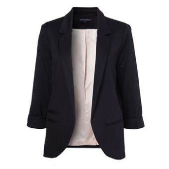 Women Casual Slim Solid Suit Blazer Jacket(Black) - intl