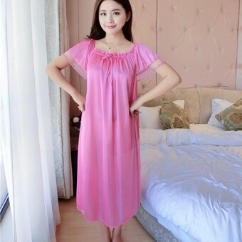 Harga Women New Korean Ice Silk Sweet Sexy Sleepwear Dress Home LeisureDress - intl