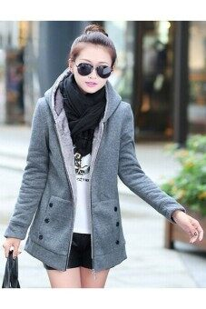 Harga Women Outwear Long Sleeve Fleece Warm Zip Grey - intl