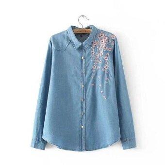 Women Plus Size Long sleeve Floral print Denim Shirt - intl