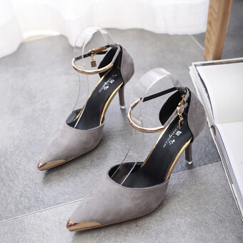 Women Pointed Toe Suede Buckle Strap Pumps Shoes (Gray) (Intl)