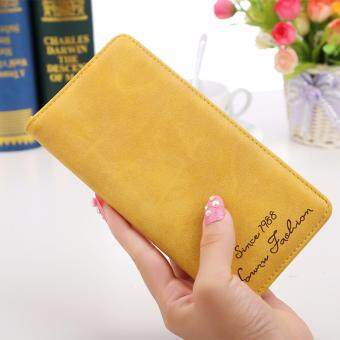 Women Purse Long Wallet Matte Leather Wallets(Yellow) - intl