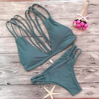 Women Sexy Bandage Bikini Set Swimwear Swimsuit Beach BathingSuit-Green Women Size S - intl