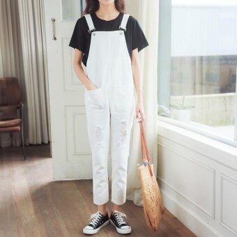 Harga Women's Mid-waisted Regular Ankle Length Overalls Japanese Jeans With Hole White - intl