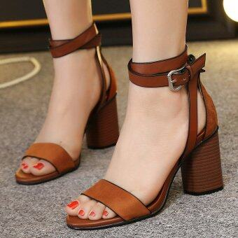 Womens Open Toe Square Heel Suede London Sandals with Buckle Brown - intl