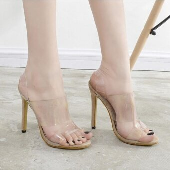 Women's Sandals Elegant High Heels Apricot - intl