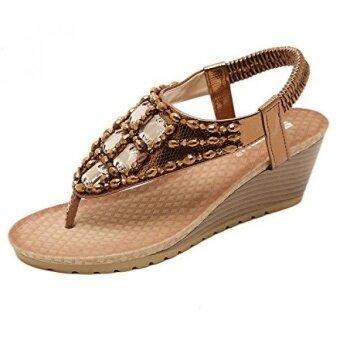 Womens Wedge Sandal Platform Rhinestone Dress Sandals Bohemia Shoes Dark Gold 9.5 US - intl