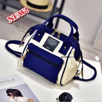 wonderful story 3 in 1 Women Bag Top Handle Bag Women Backpack\nกระเป๋าสะพายไหล่ กระเป๋าเป้สะพายหลัง(สีน้ำเงิน)