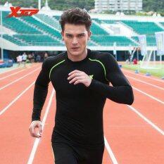 XTEP วิ่งยาวแขนเสื้อเสื้อยืดสำหรับผู้ชาย o คอแห้งอัดให้แน่นระบายอากาศกีฬาออกกำลังกายแบบเสื้อของผู้ชาย (สีดำ/สีเขียว)