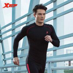 XTEP วิ่งยาวแขนเสื้อเสื้อยืดสำหรับผู้ชาย o คอแห้งอัดให้แน่นระบายอากาศกีฬาออกกำลังกายแบบเสื้อของผู้ชาย (สีดำ/สีแดง)