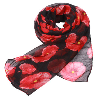 Yingwei Amphibious Shawl Scarf for Women (Black and Red)