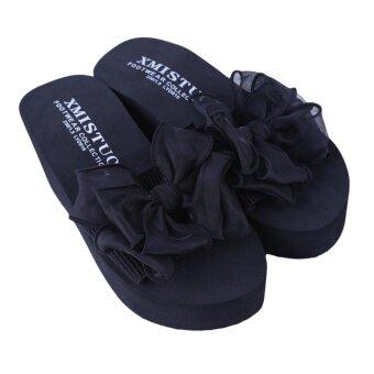 YingWei Lady Wedge Slipper Butterfly Flower Beach Shoes High Heel Sandals (Black) - intl