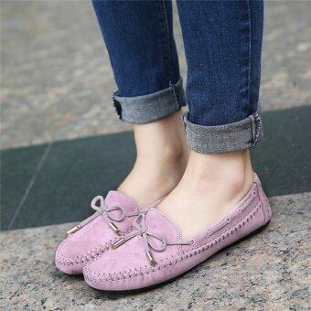 YingWei Women's Shoes Beanie Flat Shoes Bow tie Woman Ladies SoftLoafers Flats Purple - intl