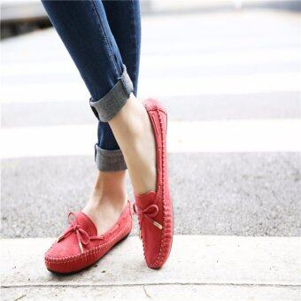 YingWei Women's Shoes Beanie Flat Shoes Bow tie Woman Ladies SoftLoafers Flats Red - intl
